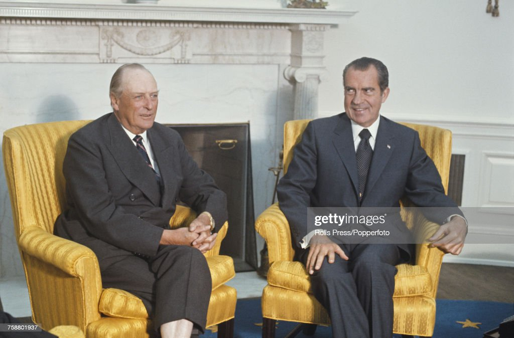 President of the United States, Richard Nixon (1913-1994) pictured on right with King Olav V of Norway (1903-1991) during talks in Washington DC, United States in September 1971.