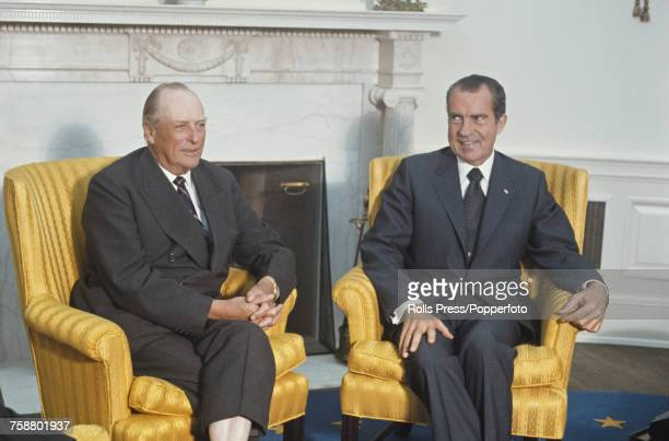 President of the United States, Richard Nixon pictured on right with King Olav V of Norway during talks in Washington DC, United States in September...