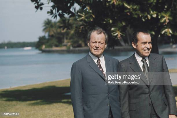 President of the United States Richard Nixon pictured on right with Chancellor of Germany Willy Brandt as they meet for bilateral talks in Key...