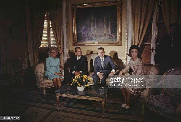 President of the United States Richard Nixon sits with Prince Juan Carlos of Spain Princess Sofia of Spain and Pat Nixon in Madrid during an official...