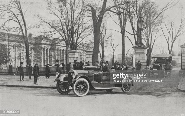 President of the United States Thomas Woodrow Wilson and his wife exit the White House, Washington, United States, from the magazine L'illustrazione...