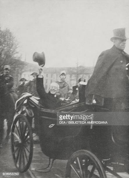 President of the United States Thomas Woodrow Wilson greets the crowd from his carriage, in Milan, Italy, from the magazine L'illustrazione italiana,...