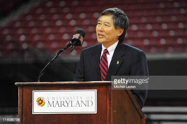 President of the University of Maryland Wallace D Loh speaks during the retirement announcement of basketball coach Gary WIlliams on May 6 2011 at...