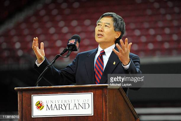 President of the University of Maryland Wallace D Loh speaks speaks during announcement of the retirement of basketball coach Gary WIlliams on May 6...