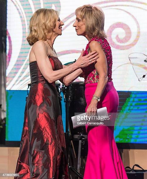 President of the University of Pennsylvania Amy Gutmann PhD and journalist Andrea Mitchell on stage during the 250th Celebration Gala For The Raymond...