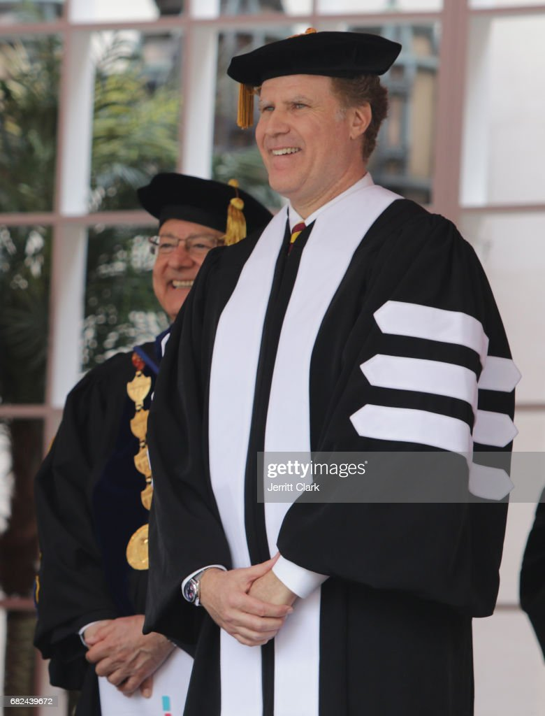 President of the University of Southern California C.L. Max Nikias presents Will Ferrell with an Honorary Doctorate Degree during the University Of Southern California 134th Commencement Ceremonies at The Shrine Auditorium on May 12, 2017 in Los Angeles, California.