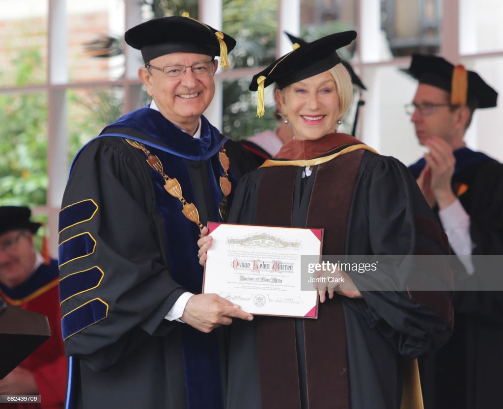 President of the University of Southern California C.L. Max Nikias presents Helen Mirren with an Honorary Doctorate Degree during the University Of Southern California 134th Commencement Ceremonies at The Shrine Auditorium on May 12, 2017 in Los Angeles, California.
