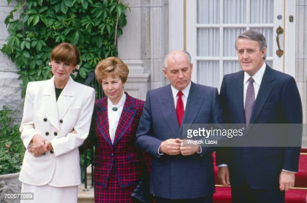 President of the USSR Mikhail Gorbachov visits Canada Pictured in the first row Milica Mila Mulroney Raisa Gorbacheva Prime Minister of Canada Martin...
