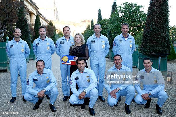 President of the Versailles Castle Catherine Pegard and Pilots of the 'Patrouille de France' enjoy a Martell cocktail at the Martell 300th...