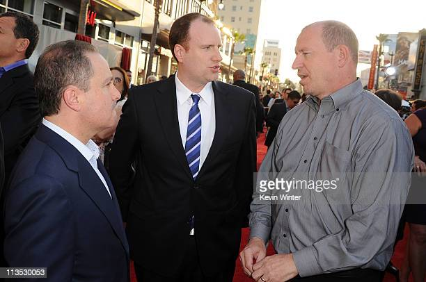 President of The Walt Disney Studios Alan Bergman producer Kevin Feige and Paramount Pictures Vice Chairman Rob Moore arrive at the premiere of...