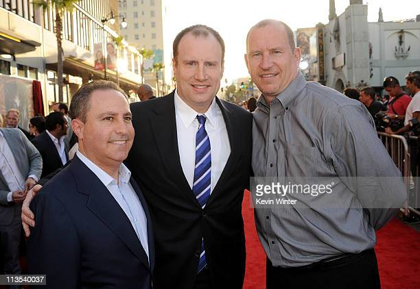 President of The Walt Disney Studios Alan Bergman producer Kevin Feige and Paramount Pictures Vice Chairman Rob Moore arrives at the premiere of...