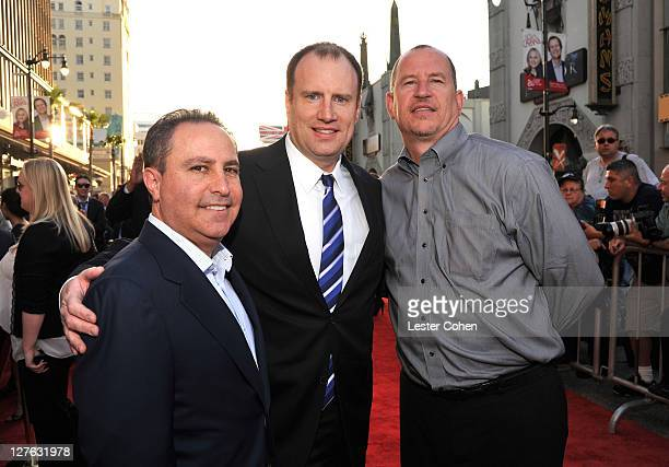 President of The Walt Disney Studios Alan Bergman producer Kevin Feige and Paramount Pictures Vice Chairman Rob Moore arrive at the Los Angeles...
