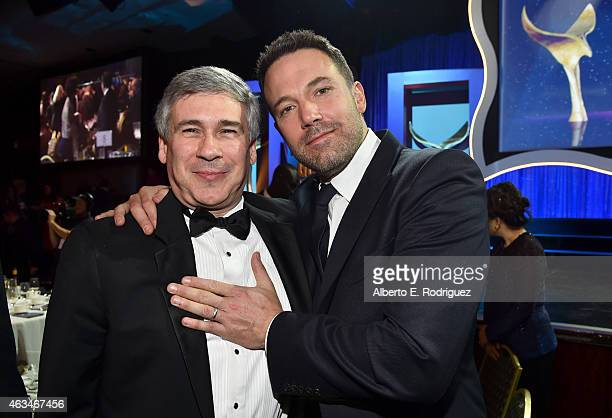 President of the WGA West Christopher Keyser and actor Ben Affleck attend the 2015 Writers Guild Awards L.A. Ceremony at the Hyatt Regency Century...