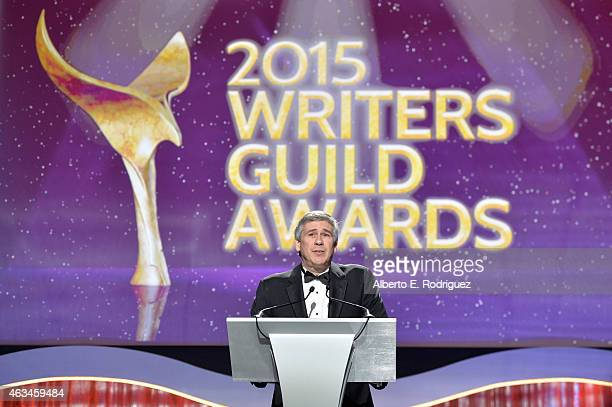 President of the WGA West Christopher Keyser speaks onstage at the 2015 Writers Guild Awards L.A. Ceremony at the Hyatt Regency Century Plaza on...
