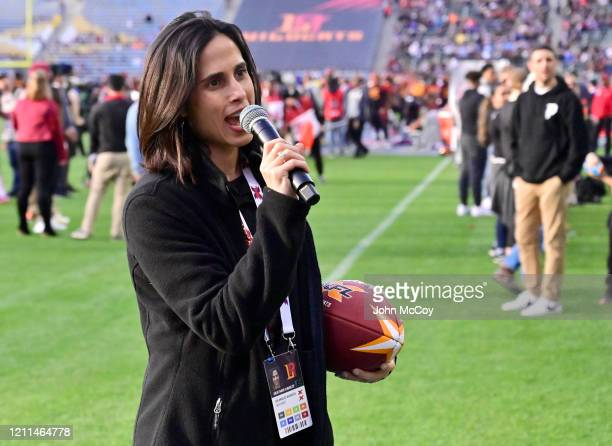 President of the LA Wildcats Heather Karatz with the game ball before the LA Wildcats play the Tampa Bay Vipers at Dignity Health Sports Park during...