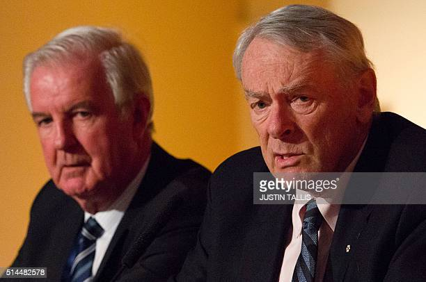 President of the World AntiDoping Agency Craig Reedie and Former President of the World AntiDoping Agency Dick Pound attend a Tackling Doping in...