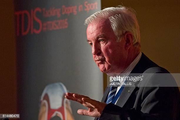 President of the World AntiDoping Agency Craig Reedie speaks at a Tackling Doping in Sport 2016 conference in London on March 9 2016 WADA's current...