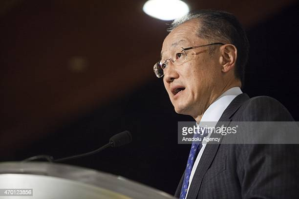 President of the World Banks Jim Yong Kim speaks during a B20 panel at the 2015 IMF/World Bank Spring Meetings in Washington USA on April 17 2015