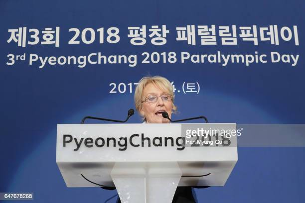 President of the World Curling Federation Kate Caithness delivers a speech during the PyeongChang 2018 Paralympic Day and Opening of the World...