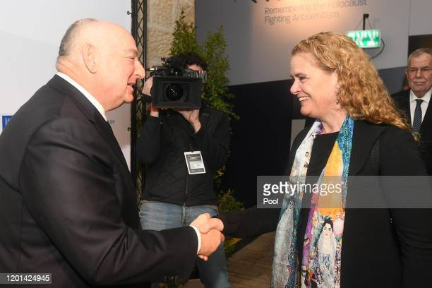 President of the World Holocaust Forum Foundation Dr. Moshe Kantor greets Governor General of Canada Julie Payette during the Fifth World Holocaust...