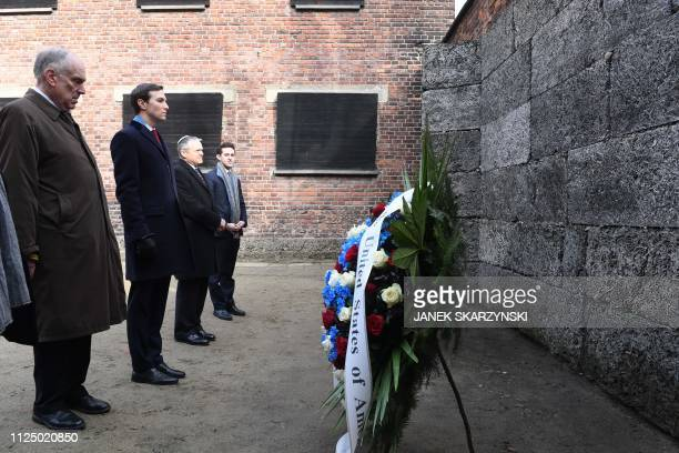 President of the World Jewish Congress Ronald Lauder and White House US Senior Advisor Jared Kushner lay a wreath at the death wall at the former...