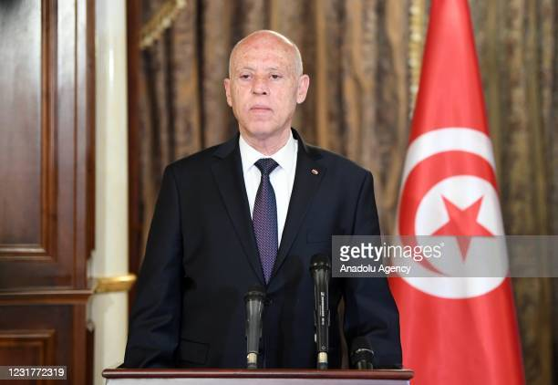 President of Tunisia Kais Saied and President of the Libyan Presidential Council Mohammad al-Menfi hold a joint press conference after their meeting...