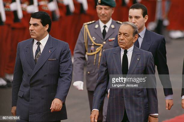 President of Tunisia Zine El Abidine Ben Ali is welcomed in Marrakech by King Hassan II of Morocco.