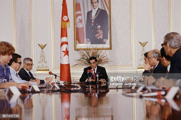 President of Tunisia Zine El Abidine Ben Ali surrounded by his ministers