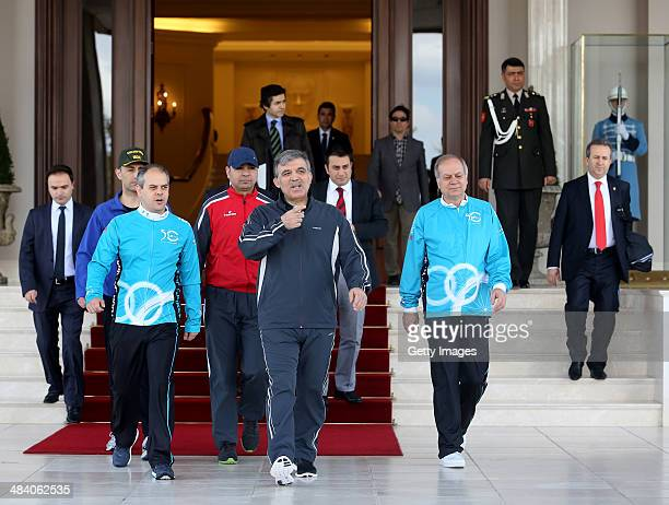 President of Turkey Abdullah Gul attends a cycling event ahead of the 50th Presidential Cycling Tour at the Cankaya Presidential Palace on April 11...