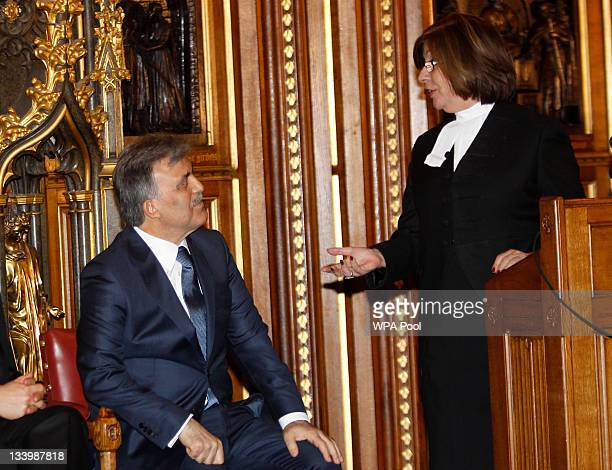 President of Turkey Abdullah Gul listens to Baroness D'Souza Speaker of the House of Lords as she thanks him following his speech at the Houses of...