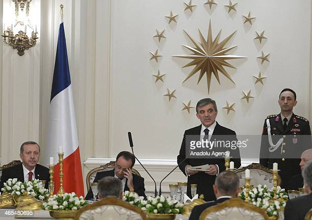 President of Turkey Abdullah Gul speaks during the dinner in honor of President of France Francois Hollande at Cankaya Presidential Palace in Ankara...
