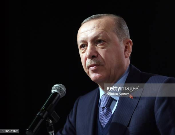 President of Turkey and Chairman of Turkey's ruling Justice and Development Party Recep Tayyip Erdogan delivers a speech during the AK Party's...