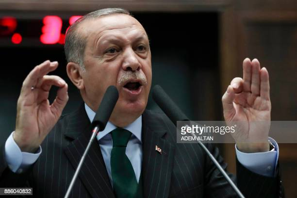 President of Turkey and Leader of the Justice and Development Party Recep Tayyip Erdogan gives a speech during an AK party's group meeting at the...