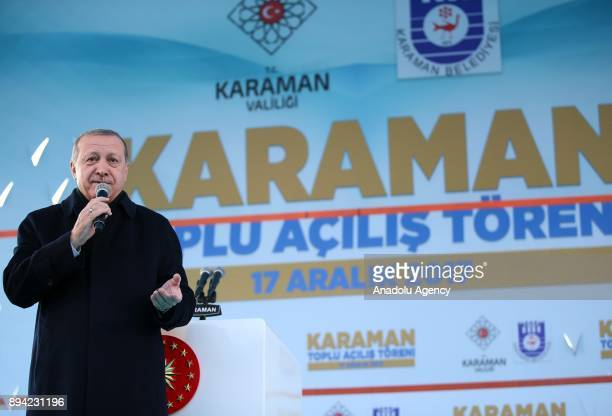 President of Turkey and Leader of the Justice and Development Party Recep Tayyip Erdogan speaks during a mass opening ceremony in Karaman Turkey on...
