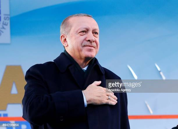 President of Turkey and Leader of the Justice and Development Party Recep Tayyip Erdogan greets the crowd during a mass opening ceremony at July 15...