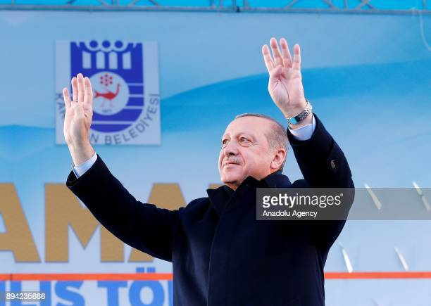 President of Turkey and Leader of the Justice and Development Party Recep Tayyip Erdogan gestures during a mass opening ceremony at July 15 Aktekke...