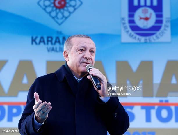 President of Turkey and Leader of the Justice and Development Party Recep Tayyip Erdogan addresses during a mass opening ceremony at July 15 Aktekke...