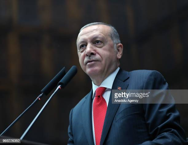 President of Turkey and leader of the Justice and Development Party Recep Tayyip Erdogan delivers a speech during a group meeting of AK Party at...