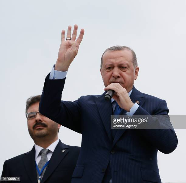 President of Turkey and leader of Turkey's ruling Justice and Development Party Recep Tayyip Erdogan addresses the crowd ahead of the AK Party's 6th...