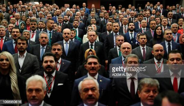 President of Turkey and ruling Justice and Development Party chair Recep Tayyip Erdogan attends the AK Party's extended provincial heads meeting at...