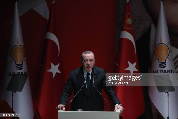 President of Turkey and ruling Justice and Development Party chair Recep Tayyip Erdogan makes a speech during the AK Party's extended provincial...