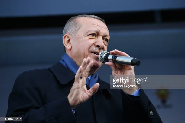 President of Turkey and the leader of Turkey's ruling Justice and Development Party Recep Tayyip Erdogan addresses the crowd during a rally in...
