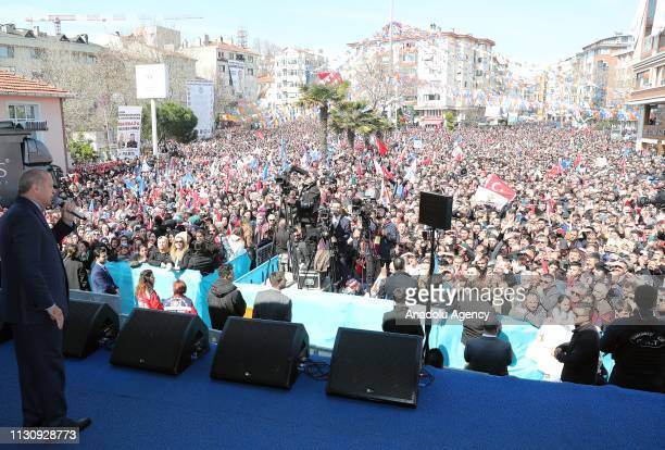 President of Turkey and the leader of Turkey's ruling Justice and Development Party Recep Tayyip Erdogan delivers a speech during a campaign rally...