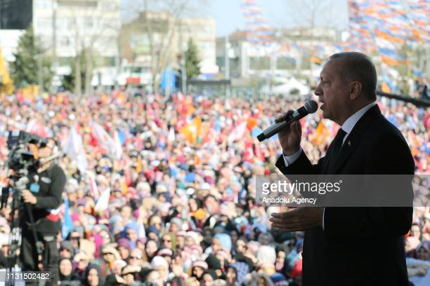 President of Turkey and the leader of Turkey's ruling Justice and Development Party Recep Tayyip Erdogan addresses the crowd during a campaign rally...