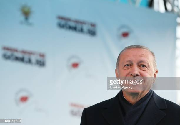 President of Turkey and the leader of Turkey's ruling Justice and Development Party Recep Tayyip Erdogan gestures during a campaign rally ahead of...