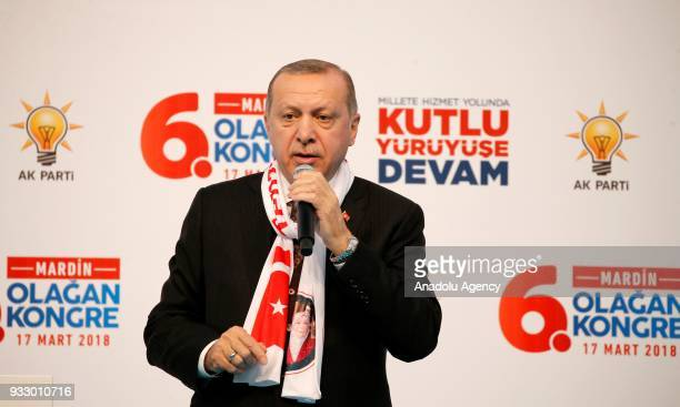 President of Turkey and the leader of Turkey's ruling Justice and Development Party Recep Tayyip Erdogan makes a speech during AK Party's 6th...