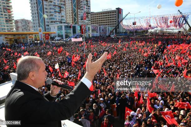 President of Turkey and the leader of Turkey's ruling Justice and Development Party Recep Tayyip Erdogan addresses the crowd ahead of AK Party's 6th...