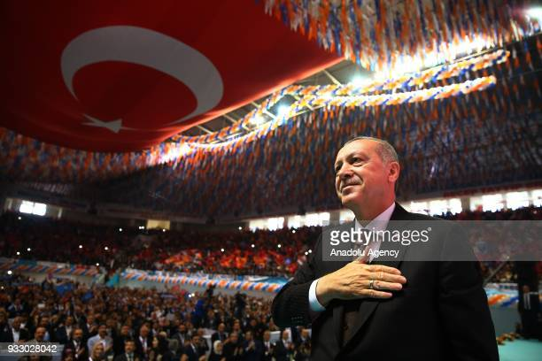 President of Turkey and the leader of Turkey's ruling Justice and Development Party Recep Tayyip Erdogan greets the crowd during AK Party's 6th...