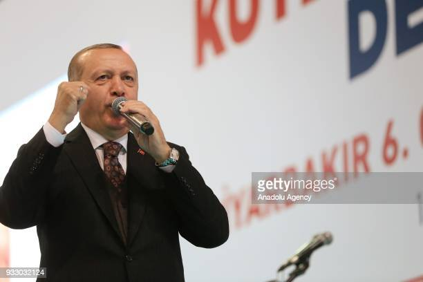 President of Turkey and the leader of Turkey's ruling Justice and Development Party Recep Tayyip Erdogan addresses during AK Party's 6th Ordinary...