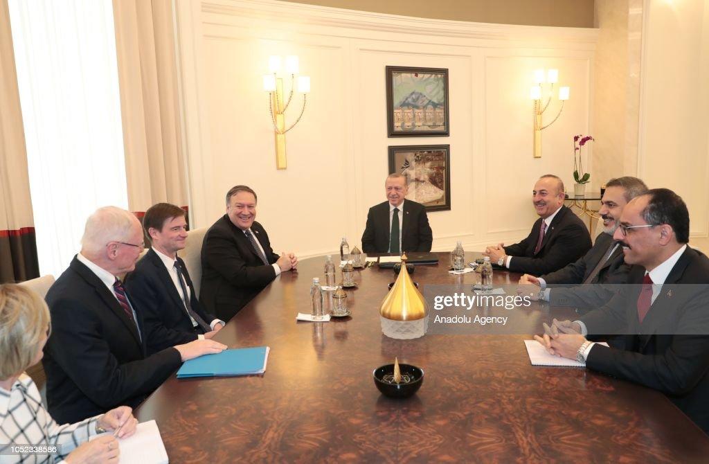 Erdogan - Pompeo meeting in Ankara : News Photo